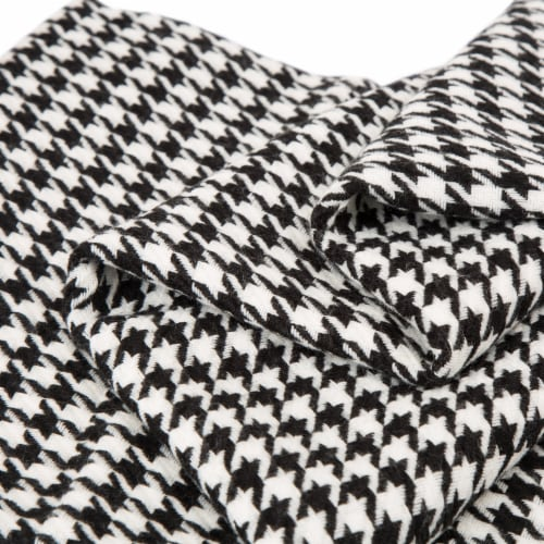 Glitzhome Acrylic Houndstooth Woven Tassel Throw - Black/White Perspective: right