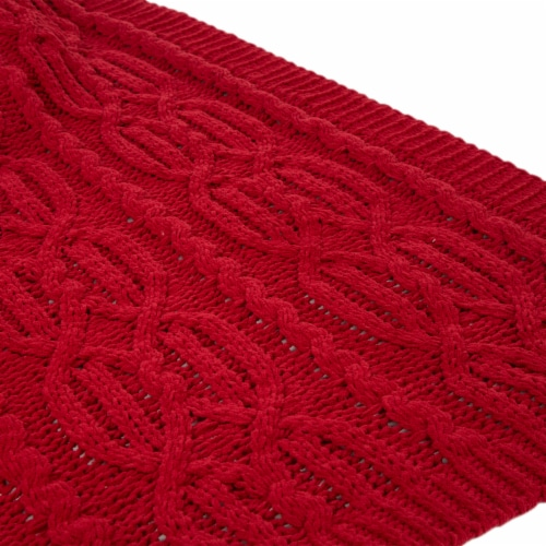 Glitzhome Knitted Chenille Fabric Throw Blanket - Red Perspective: right