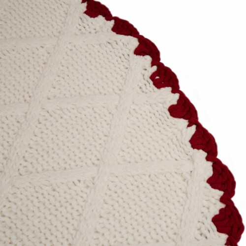 Glitzhome Knitted Polyester Christmas Tree Skirt with Trim - White/Red Perspective: right