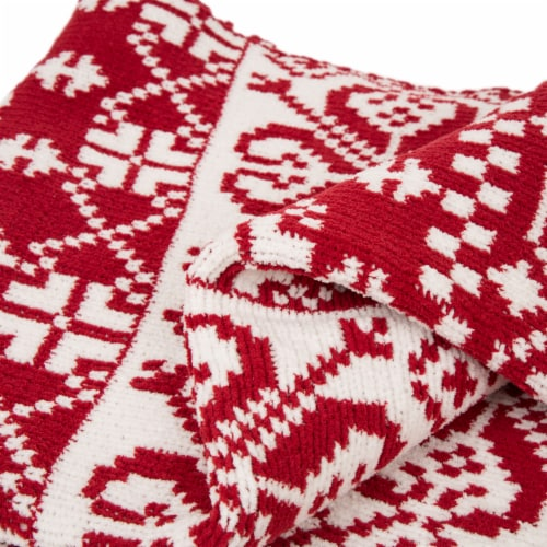 Glitzhome Knitted Snowflake Polyester Throw Blanket - Red/White Perspective: right