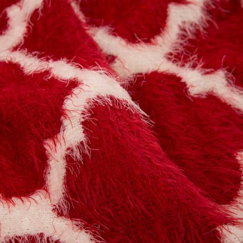 Glitzhome Reversible Knitted Nylon Eyelash Yarn Throw Blanket - Red/White Perspective: right