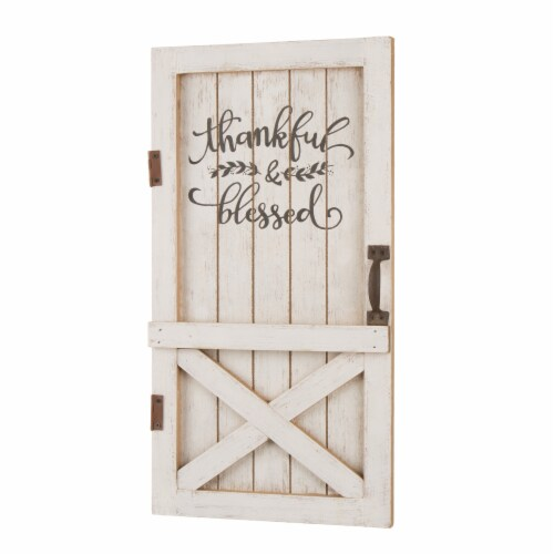 Glitzhome Wooden Thanksgiving Barn Door Wall Decor or Standing Decor Perspective: right