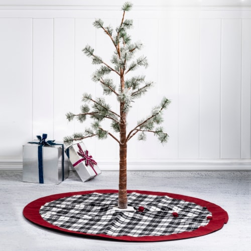 Glitzhome Plaid Fabric Christmas Tree Skirt with Trim - Black/White Perspective: right