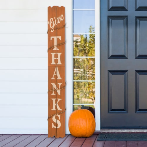 Glitzhome Wooden Give Thanks Hanging Decoration Perspective: right
