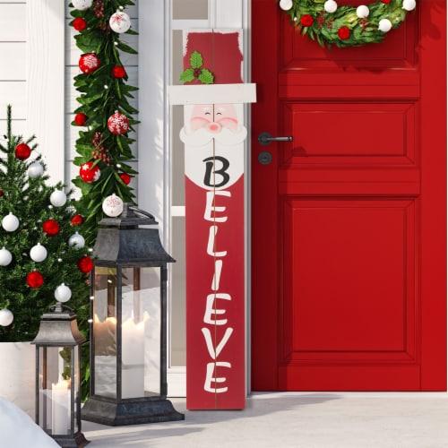 Glitzhome Wooden Santa Porch Sign Perspective: right