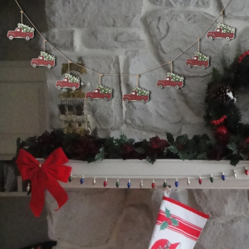 Glitzhome Metal Truck Garland Christmas Decor - Red Perspective: right