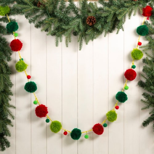 Glitzhome Acrylic Pompom Garland Christmas Decor Perspective: right