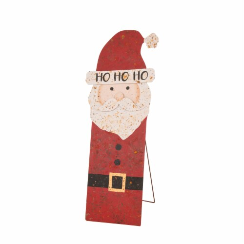 Glitzhome Rusty Metal Christmas Santa Standing Porch Decor Perspective: right