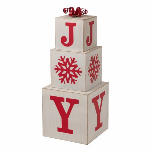 Glitzhome Wooden Block Joy Porch Sign Perspective: right
