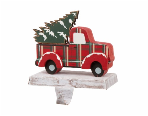 Glitzhome Truck Christmas Stocking Holder - Red/Green Perspective: right