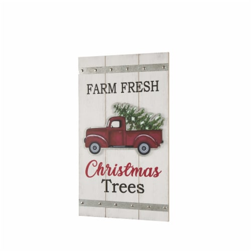 Glitzhome Wooden Red Truck Wall Sign Perspective: right