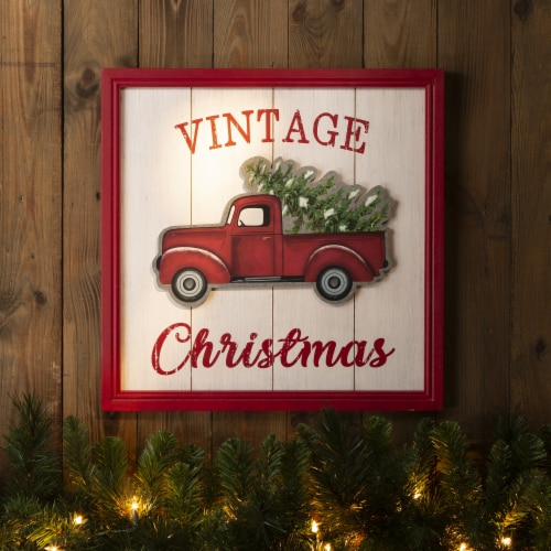 Glitzhome Wooden Red Truck Christmas Wall Decoration Perspective: right