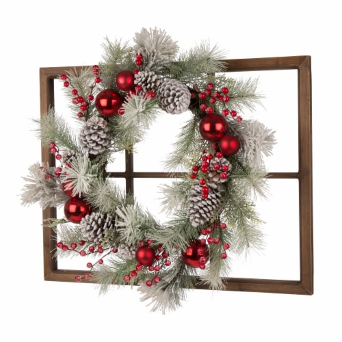 Glitzhome Wooden Window Frame & Flocked Pinecone & Ornament Wreath Perspective: right