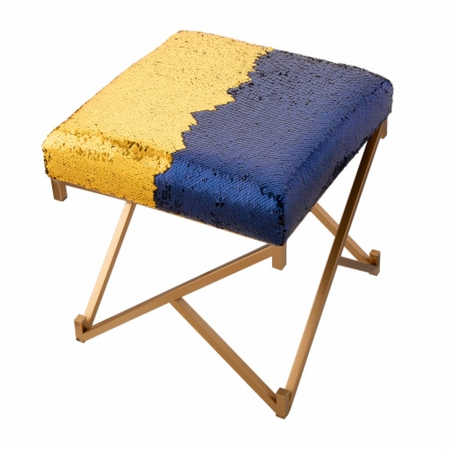 Glitzhome Shimmering Sequin Stool - Sapphire Blue / Metal Gold Perspective: right