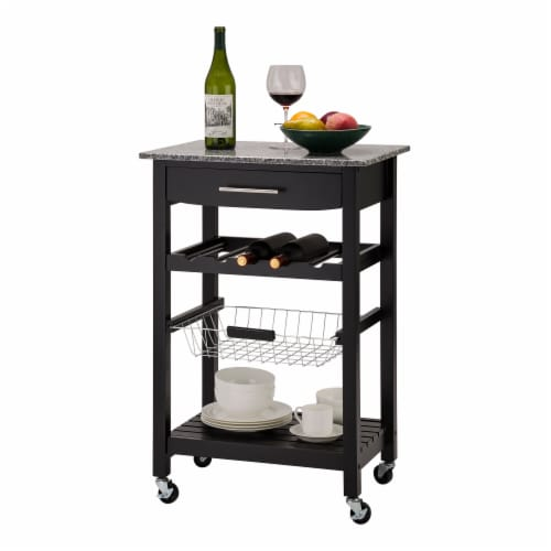 Glitzhome Rolling Kitchen Island with Marble Top - Black Perspective: right