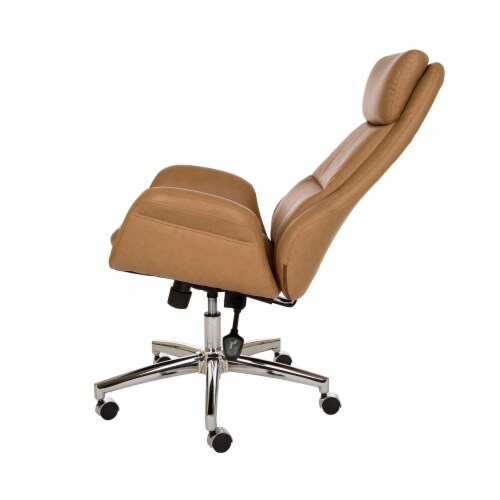 Glitzhome Mid-Century Modern Leatherette Gaslift Adjustable Swivel Office Chair - Camel Perspective: right
