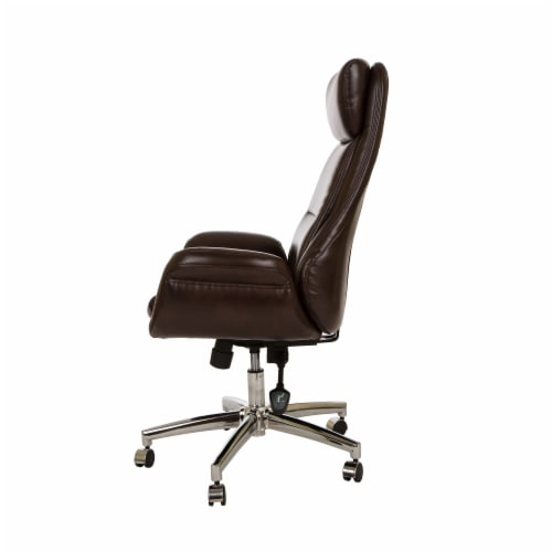 Glitzhome Mid-Century Modern Bonded Leather Gaslift Adjustable Swivel Office Chair - Coffee Perspective: right