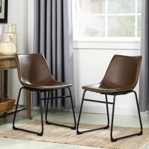 Glitzhome Mid-Century Modern Vintage Leatherette Dining Chairs - Coffee Perspective: right