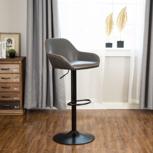 Glitzhome Mid-Century Leatherette Gaslift Adjustable Swivel Bar Stools - Modern Gray Perspective: right