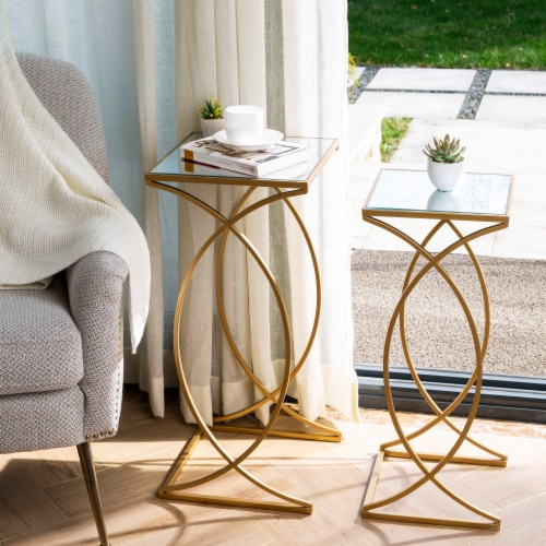 Glitzhome Square Metal with Glass Accent Table - 2 pk - Gold Perspective: right