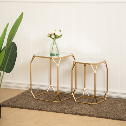 Glitzhome Metal with Glass Square Accent Table - Gold Perspective: right