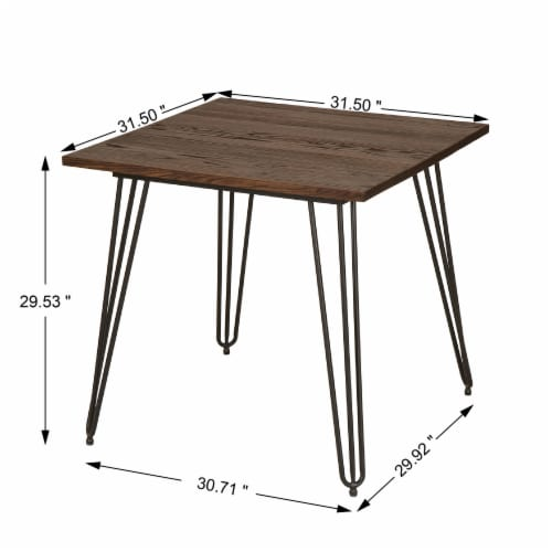 Glitzhome Industrial Steel and Elm Wood Dining Table Perspective: right