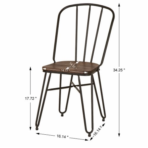 Glitzhome Industrial Steel Dining Chairs with Elm Wood Seat Perspective: right