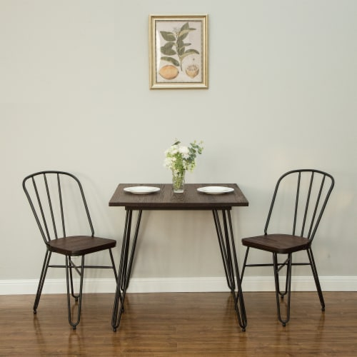Glitzhome Industrial Steel & Elm Wood Dining Set Perspective: right