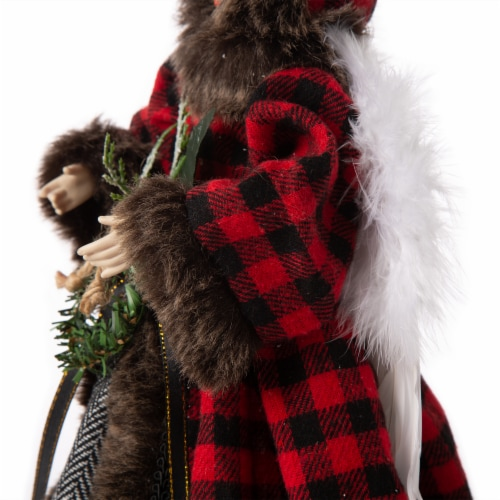 Glitzhome Plaid Angel Figurine Tree Topper Christmas Decor Perspective: right