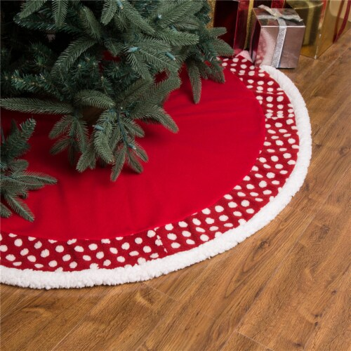 Glitzhome Fabric Pom Pom Christmas Tree Skirt - Red Perspective: right