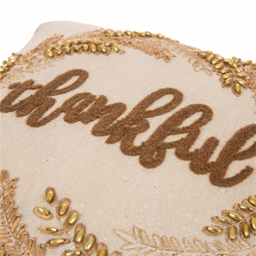 Glitzhome Embroidered Thankful Pillow Perspective: right
