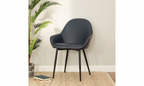 Glitzhome Mid-Century Modern Vintage Leatherette Dining Armchairs - Navy Blue Perspective: right