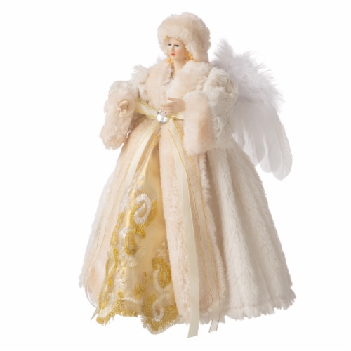 Glitzhome Faux Fur 3D Standing Angel Figurine Tree Topper - Beige Perspective: right