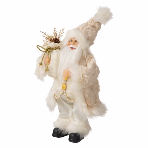 Glitzhome Standing Santa Figurine Christmas Decoration - Linen Perspective: right