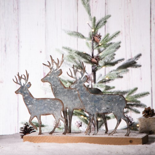 Glitzhome Galvanized Metal and Wooden Reindeer Table Decor - Silver Perspective: right