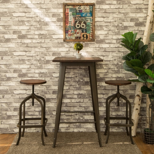 Glitzhome Rustic Steel Bar Table and Stools Set Perspective: right