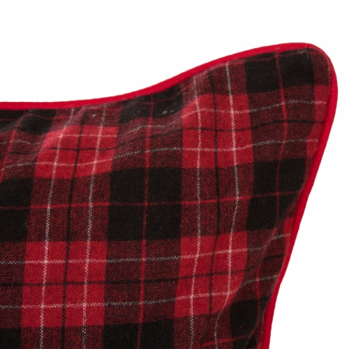 Glitzhome Farmhouse Plaid Throw Pillow Cover - Red & Black Perspective: right