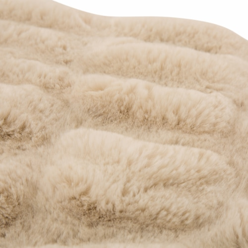 Glitzhome Thick Faux Fur Luxury Elastic Throw Blanket - Beige Perspective: right
