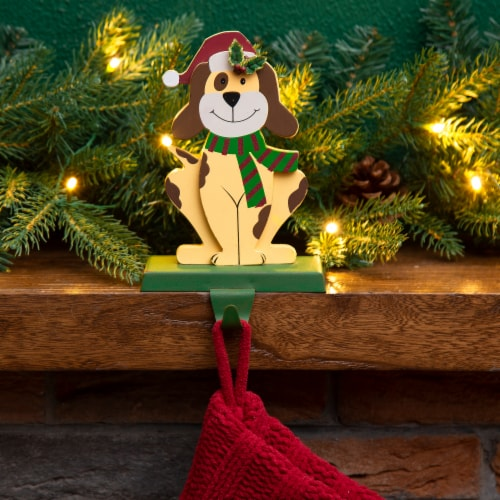 Glitzhome Wood and Metal Dog Weighted Christmas Stocking Holder Perspective: right