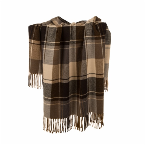 Glitzhome Acrylic Plaid Woven Tassel Throw Blanket Perspective: right