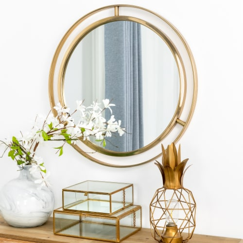 Glitzhome Medium Deluxe Metal Round Classic Wall Mirror - Gold Perspective: right