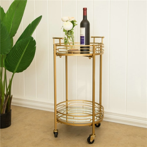 Glitzhome Deluxe Metal Round Mirrored Bar Cart - Gold Perspective: right