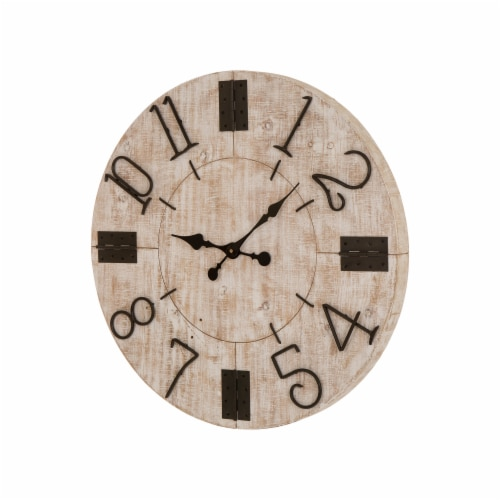Glitzhome Oversized Farmhouse Whitewashed Wooden Wall Clock Perspective: right