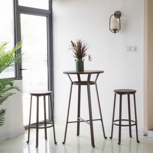 Glitzhome Rustic Steel with Elm Wood Pub Set Perspective: right