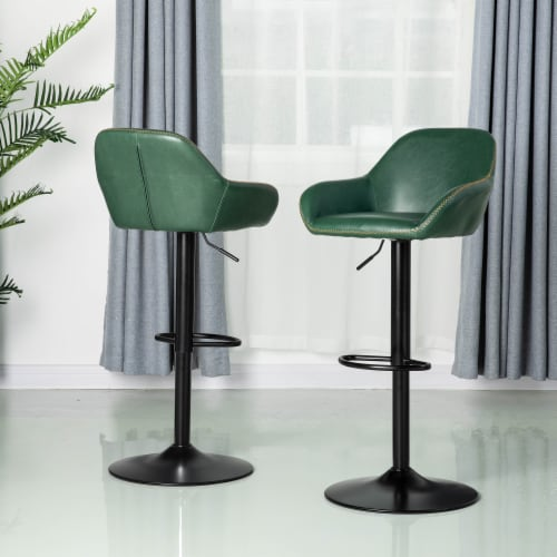 Glitzhome Modern Vintage Leatherette Gaslift Adjustable Swivel Bar Stool - Green Perspective: right