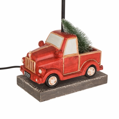 Glitzhome Christmas Truck Table Lamp with Burlap Shade Perspective: right
