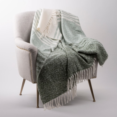 Glitzhome Woven Acrylic Striped Jacquard Tassel Throw Blanket Perspective: right