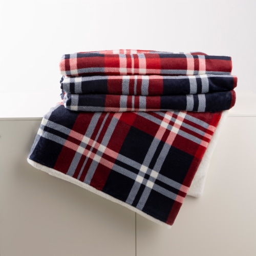 Glitzhome Flanel Plaid Reversible Duvet Cover Perspective: right