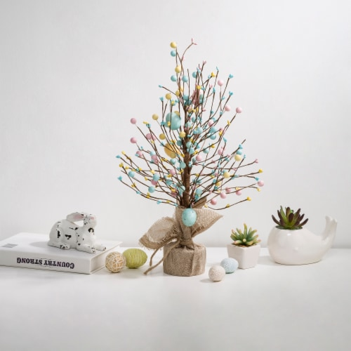 Glitzhome Easter Eggs with Cement Base Table Tree Decoration Perspective: right