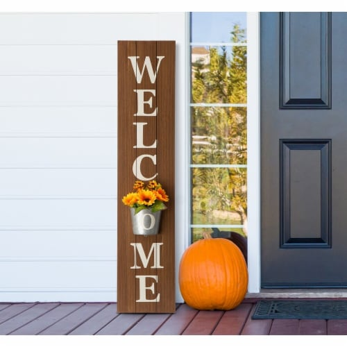 Glitzhome Metal Planter Welcome Porch Sign Perspective: right